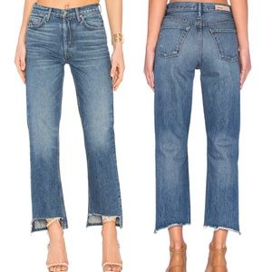 GRLFRND Helena High Rise Straight Leg Raw Hem Jean